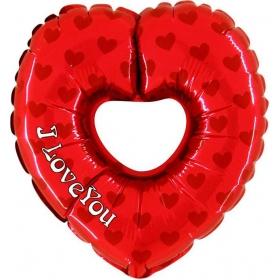 """ΜΠΑΛΟΝΙ FOIL 36""""(91cm) ΚΑΡΔΙΑ ΚΟΚΚΙΝΗ «I Love You» ΜΕ ΤΡΥΠΑ – ΚΩΔ.:227661h36b-BB"""