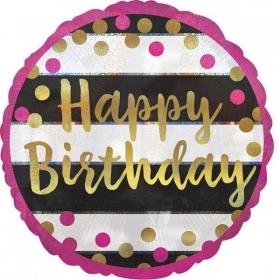 ΜΠΑΛΟΝΙ FOIL ΓΕΝΕΘΛΙΩΝ «Happy Birthday» ΧΡΥΣΟ ΙΡΙΔΙΖΟΝ 45cm – ΚΩΔ.:537159-BB