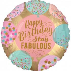 ΜΠΑΛΟΝΙ FOIL ΓΕΝΕΘΛΙΩΝ «Happy Birthday Stay Fabulous» 45cm – ΚΩΔ.:538074-BB