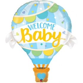 ΜΠΑΛΟΝΙ FOIL 107cm SUPER SHAPE «Welcome Baby» ΜΠΛΕ – ΚΩΔ.:78654-BB