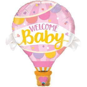 ΜΠΑΛΟΝΙ FOIL 107cm SUPER SHAPE «Welcome Baby» ΡΟΖ  – ΚΩΔ.:78656-BB