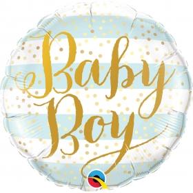 ΜΠΑΛΟΝΙ FOIL 45cm «Baby Boy» ΜΕ ΡΙΓΕΣ – ΚΩΔ.:88001-BB