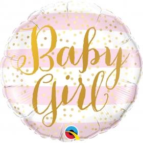 ΜΠΑΛΟΝΙ FOIL 45cm «Baby Girl» ΜΕ ΡΙΓΕΣ – ΚΩΔ.:88004-BB
