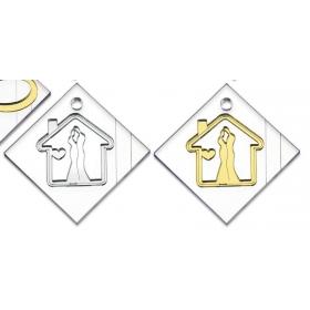 PLEXIGLASS ΣΠΙΤΑΚΙ ΜΕ ΑΝΤΡΟΓΥΝΟ ΣΕ PLEXIGLASS ΒΑΣΗ ΜΕ ΤΡΥΠΑ 5Χ5Χ0.5CM - ΚΩΔ:M3060-AD