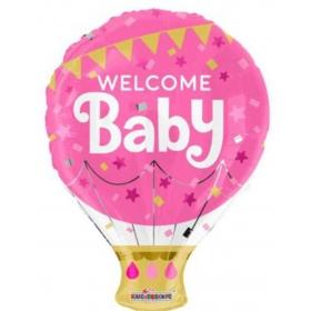 """ΜΠΑΛΟΝΙ FOIL 18""""(46cm) ΑΕΡΟΣΤΑΤΟ «Welcome Baby» ΡΟΖ – ΚΩΔ:15475-BB"""