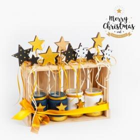 Χριστουγεννιάτικο Σετ Δώρου Σε Ξύλινο Καφάσι - ΚΩΔ:19255-PR
