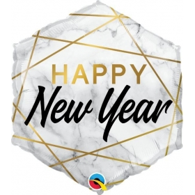 46cm HAPPY NEW YEAR ΕΞΑΓΩΝΟ FOIL ΜΠΑΛΟΝΙ - ΚΩΔ:15055-BB