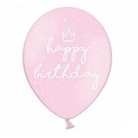 """ΜΠΑΛΟΝΙ ΛΑΤΕΞ ΤΥΠΩΜΕΝΟ 12""""(30cm) BABY PINK """"Happy Birthday"""" - ΚΩΔ:SB14P-244-081J-BB"""