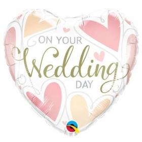 """ΜΠΑΛΟΝΙ FOIL 18""""(45cm) ΚΑΡΔΙΑ ON YOUR WEDDING DAY - ΚΩΔ:57325-BB"""