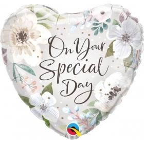 """ΜΠΑΛΟΝΙ FOIL 18""""(45cm) ON YOUR SPECIAL DAY WHITE FLORAL - ΚΩΔ:10489-BB"""