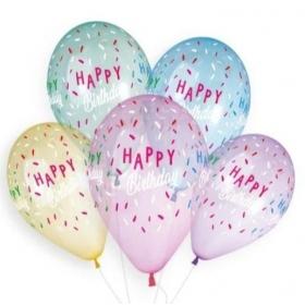 """ΜΠΑΛΟΝΙ ΛΑΤΕΞ 13""""(33cm) ΤΥΠΩΜΕΝΟ ΔΙΑΦΑΝΟ ΟΥΡΑΝΙΟ ΤΟΞΟ HAPPY BIRTHDAY - ΚΩΔ:136131036-BB"""