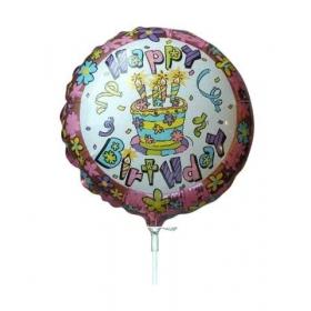 ΜΠΑΛΟΝΙ FOIL 9''(23cm) MINI SHAPE HAPPY BIRTHDAY ΛΟΥΛΟΥΔΑΚΙΑ - ΚΩΔ:82595-BB