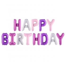 ΜΠΑΛΟΝΙ FOIL 16''(40cm) ΡΟΖ-ΜΟΒ HAPPY BIRTHDAY - ΚΩΔ:FB6P-000-BB