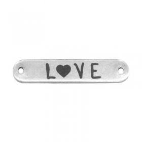 """Ορειχάλκινο (Μπρούτζινο) Χυτό Στοιχείο Ταυτότητα """"LOVE"""" για Μακραμέ 25x5mm (Ø1.2mm) - ΚΩΔ: B0203.270001"""