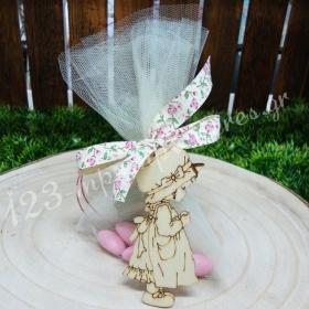 Μπομπονιέρα Βάπτισης ξύλινο διακοσμητικό Sarah Kay με φλοράλ κορδέλα - Κωδ:MPO-04820