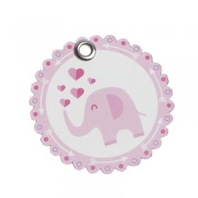 Χάρτινη ετικέτα ροζ ελεφαντάκι - ΚΩΔ:81541-PR