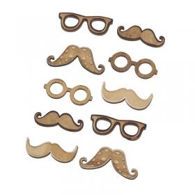 Καρτέλα με ξύλινα αυτοκόλλητα μουστάκια - ΚΩΔ:K001-PR