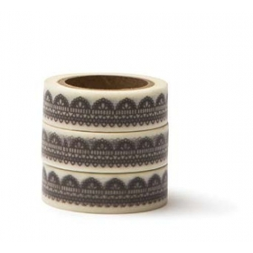 WASHI TAPE ΛΕΥΚΟ ΜΕ ΓΚΡΙ ΔΑΝΤΕΛΑ -15MMΧ10M - ΚΩΔ:102725-GN
