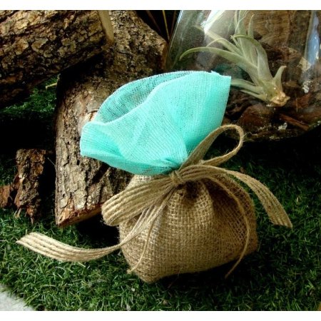 Μπομπονιέρα πουγκί λινάτσα με γάζα - Βεραμάν - Κωδ:MPO-044V