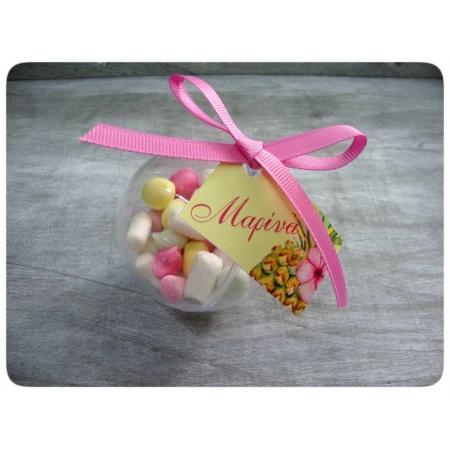 Μπομπονιέρα Βάπτισης Διάφανη Μπαλίτσα με ζαχαρωτά και καραμελίτσες - ALOHA - Κωδ:MPO-1532