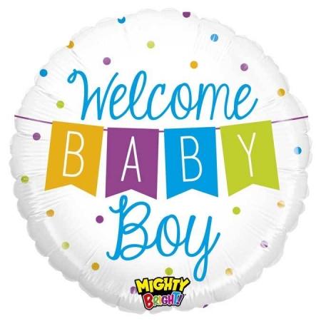 ΜΠΑΛΟΝΙ FOIL 45cm ΓΙΑ ΓΕΝΝΗΣΗ «Welcome Baby Boy» BANNER – ΚΩΔ.:14345-BB