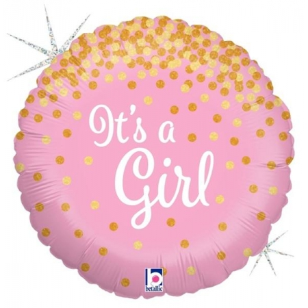 ΜΠΑΛΟΝΙ FOIL 45cm ΓΙΑ ΓΕΝΝΗΣΗ «It's a Girl» ΜΕ ΓΚΛΙΤΕΡ – ΚΩΔ.:36586-BB