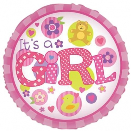 ΜΠΑΛΟΝΙ FOIL 45cm ΓΙΑ ΓΕΝΝΗΣΗ «It's a Girl» ΜΕ ΑΡΚΟΥΔΑΚΙ ΚΑΙ ΠΑΠΙΑ – ΚΩΔ.:206244-BB