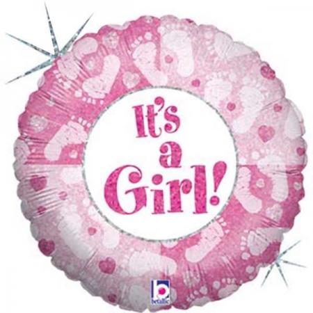 ΜΠΑΛΟΝΙ FOIL 45cm ΓΙΑ ΓΕΝΝΗΣΗ «It's a Girl» ΜΕ ΠΑΤΟΥΣΑΚΙΑ – ΚΩΔ.:86369-BB