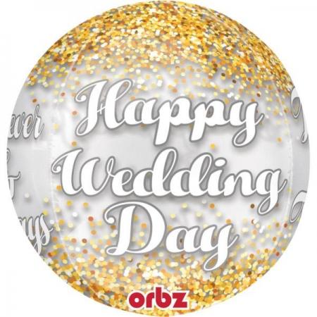 ΜΠΑΛΟΝΙ FOIL 40cm «Happy Wedding Day» ORBZ - ΚΩΔ.:535193-BB