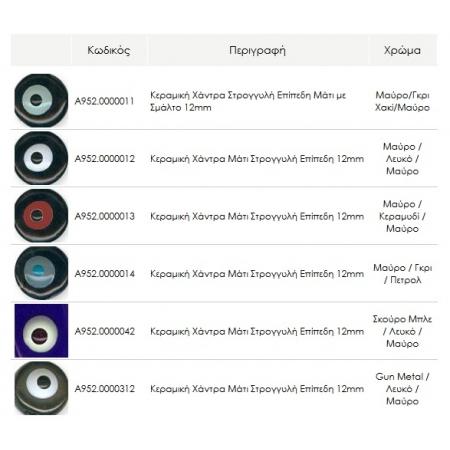 Κεραμική Χάντρα Στρογγυλή Eπίπεδη Μάτι με Σμάλτο 12mm  - ΚΩΔ:A952-NG