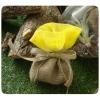 Μπομπονιέρα πουγκί λινάτσα με γάζα - ΚΙΤΡΙΝΟ - Κωδ:MPO-044Y