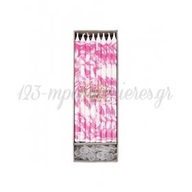 Κεράκια Γενεθλίων Marbled Neon Pink - ΚΩΔ:154657-JP
