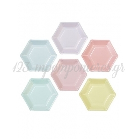 Εξάγωνα Πολύχρωμα Πιάτα - ΚΩΔ:PASTEL-PLATE-HEX-JP