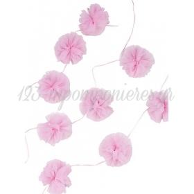 Γιρλάντα με Ροζ Pom Pom - ΚΩΔ:PINK-TULLEGARLAND-JP