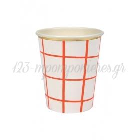 Ποτήρι χάρτινο Καρώ Κοραλί - ΚΩΔ:162856-JP