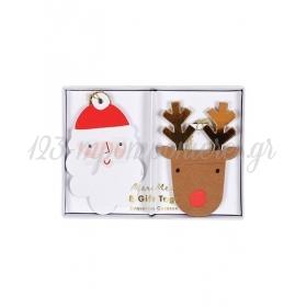 Καρτελάκια Δώρων Santa & Reindeer - ΚΩΔ:163225-JP
