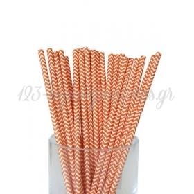 Καλαμάκια χάρτινα πορτοκαλί ζικ ζακ - ΚΩΔ:7951-JP