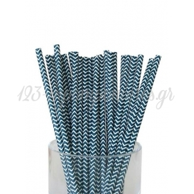 Καλαμάκια χάρτινα blue navy ζικ ζακ - ΚΩΔ:7952-JP