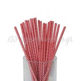 Καλαμάκια χάρτινα κόκκινα ζικ ζακ - ΚΩΔ:7953-JP
