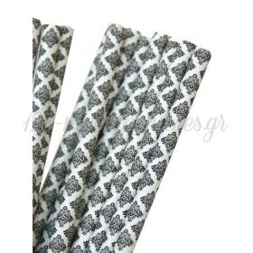 Καλαμάκια χάρτινα μαύρο damask - ΚΩΔ:7958-JP
