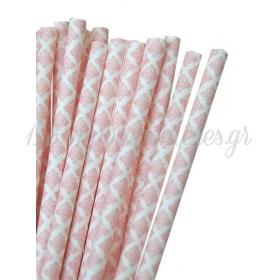Καλαμάκια χάρτινα ροζ damask - ΚΩΔ:7961-JP