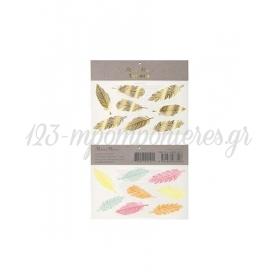 Gold & Neon Feather Tattoos - ΚΩΔ:158581-JP