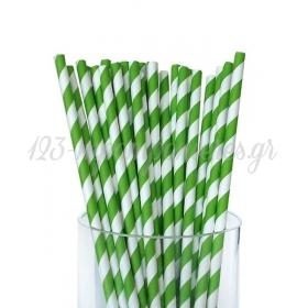 Καλαμάκια χάρτινα ριγέ λαχανί - ΚΩΔ:4280-JP
