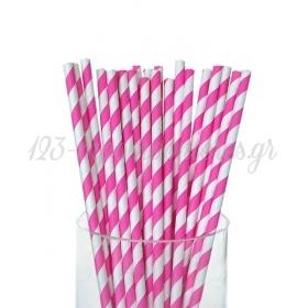 Καλαμάκια χάρτινα ριγέ φούξια - ΚΩΔ:4284-JP