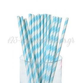 Καλαμάκια χάρτινα ριγέ σιέλ - ΚΩΔ:4285-JP
