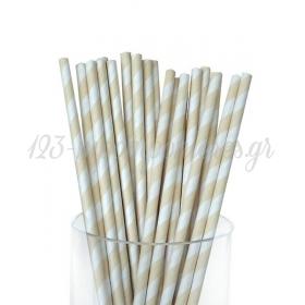 Καλαμάκια χάρτινα ριγέ Εκρου - ΚΩΔ:5480-JP
