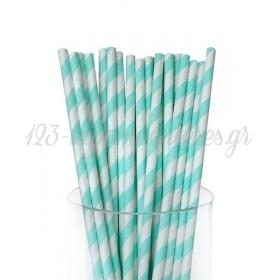 Καλαμάκια χάρτινα ριγέ aqua - ΚΩΔ:6912/K-JP