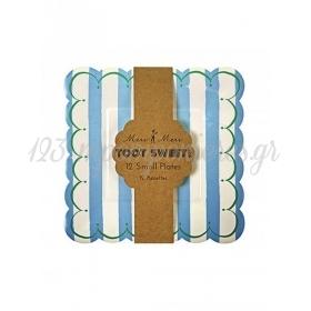Πιάτο γλυκού ριγέ σιέλ Toot Sweet - ΚΩΔ:114031-JP