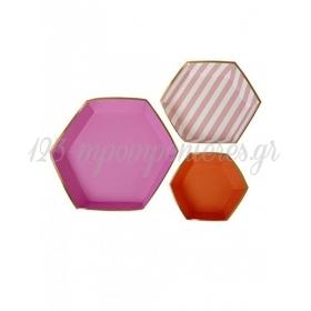 Πιατέλες σετ TS Pink Stripe - ΚΩΔ:45-1306-JP