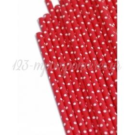 Καλαμάκια χάρτινα κόκκινα λευκό πουά - ΚΩΔ:7949-JP